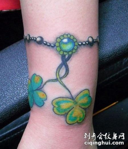三叶草手链纹身