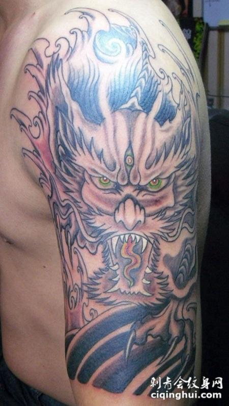 愤怒的麒麟纹身