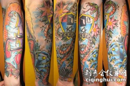 小臂海底世界纹身