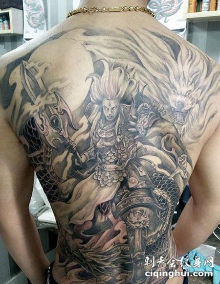 满背霸气二郎真君纹身图案