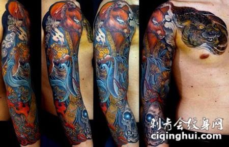 花臂骷髅狐仙纹身图案