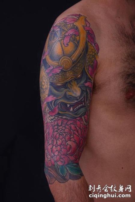 大臂般若菊花纹身图案