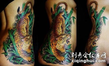 腰侧竹林中的下山虎纹身图案图片