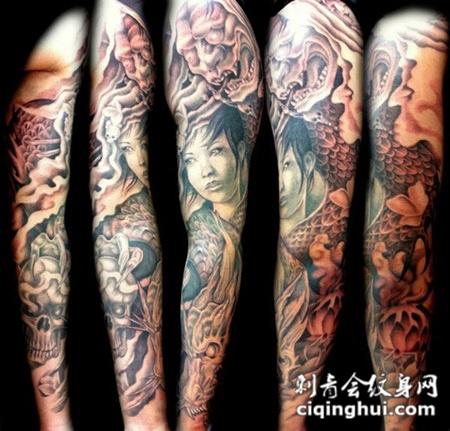 花臂美女龙纹身图案图片