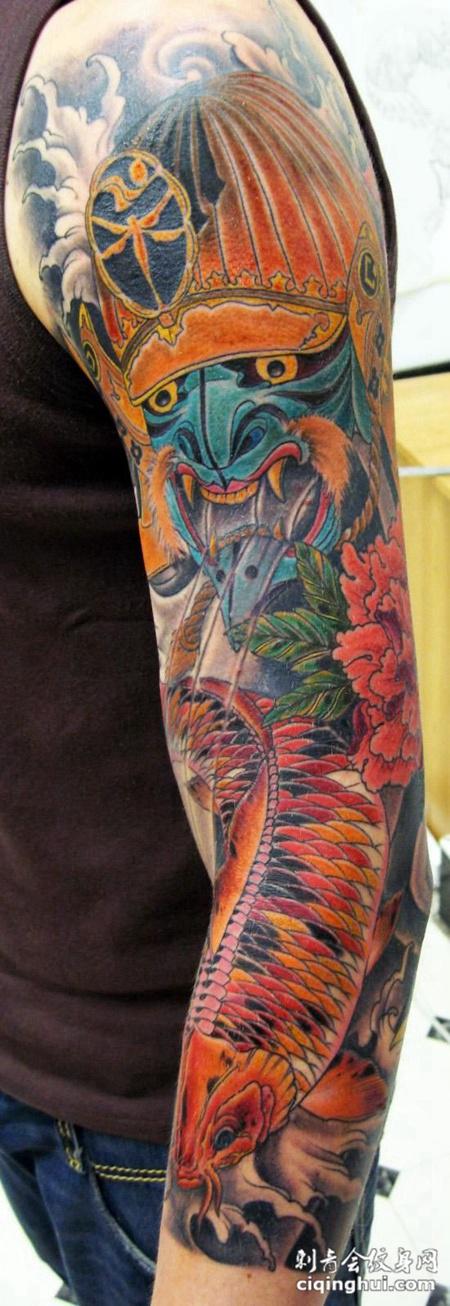 花臂鲤鱼鬼武士纹身图案图片