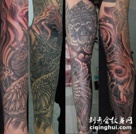 包臂嘎巴拉凤凰纹身图案图片