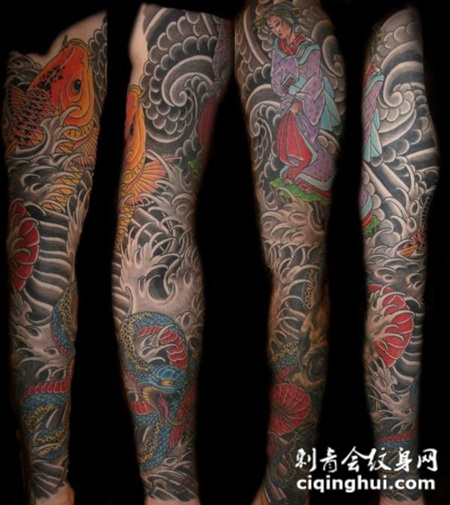 包臂鲤鱼蛇纹身图案图片