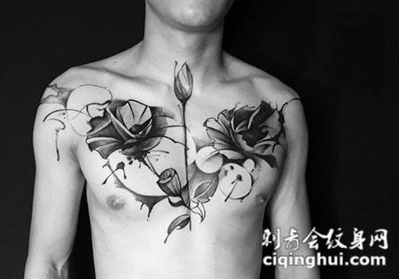 荷塘美色,胸部莲花创意纹身