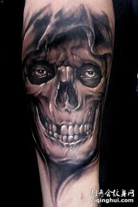 胳膊上的骷髅头纹身图案