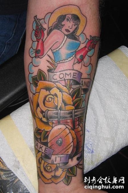 小臂上的玫瑰花美女纹身图案