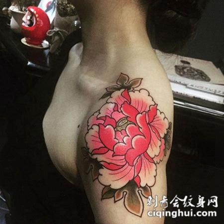美似花开,披肩牡丹花彩绘纹身