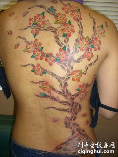 后背上的梅花纹身图案