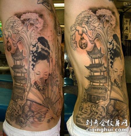 腰侧的艺妓骷髅纹身图案