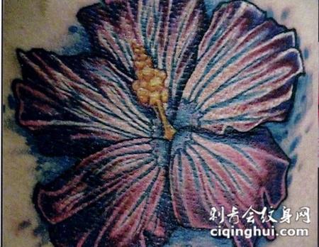 大臂上的木槿花纹身图案