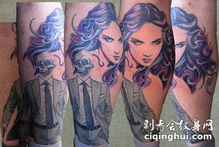 小腿上的美女与骷髅纹身图案
