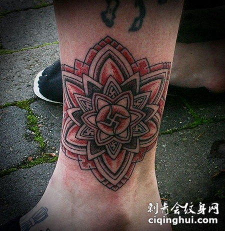 小腿上的梵花纹身图案