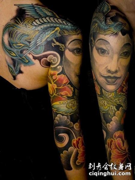 花臂美女凤凰纹身图案图片
