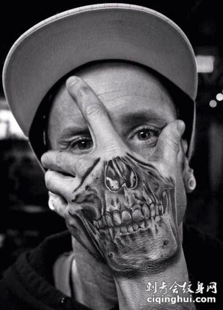 手背上的骷髅嘴纹身图案