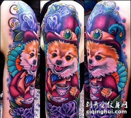 大臂上的小狗玫瑰花纹身图案