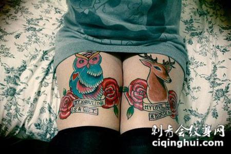 大腿上的猫头鹰小鹿纹身图案