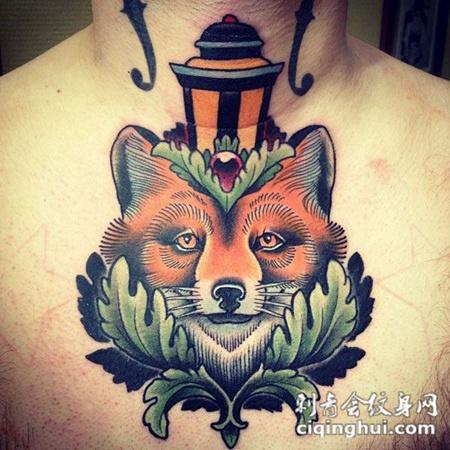 脖子上的狐狸头纹身图案