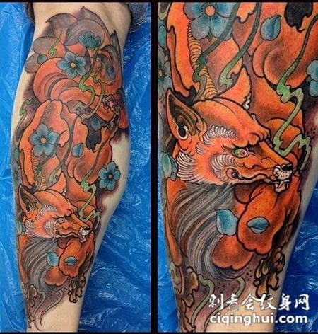 小腿上的九尾狐狸纹身图案