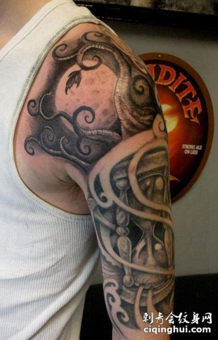 胳膊上的沙漏纹身图案