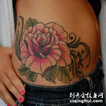 腰侧的牡丹花纹身图案