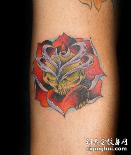 小臂上的骷髅玫瑰纹身图案