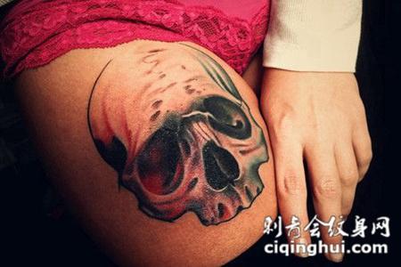大腿上的骷髅头纹身图案