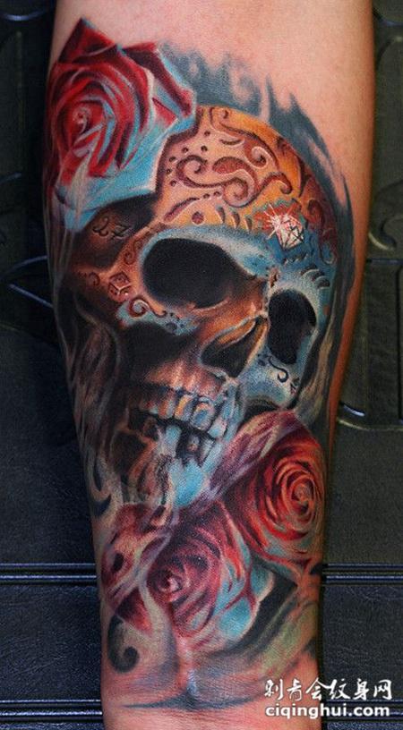 小臂上的骷髅头玫瑰花纹身图案