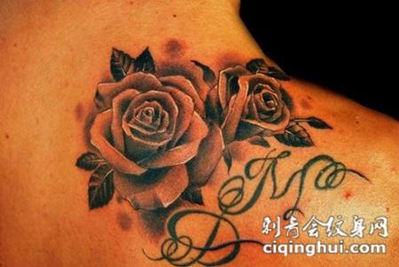 脖子上的黑灰色玫瑰花纹身图案