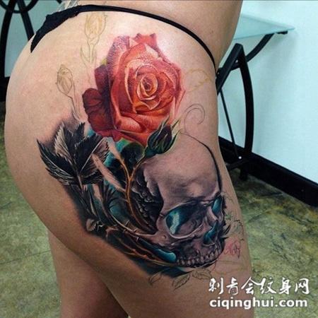 大腿上的骷髅玫瑰花纹身图案