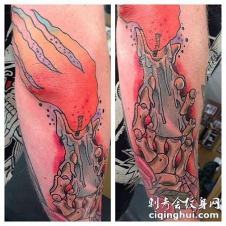 小臂上的骷髅蜡烛纹身图案