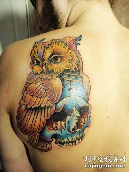 后背上的猫头鹰骷髅纹身图案