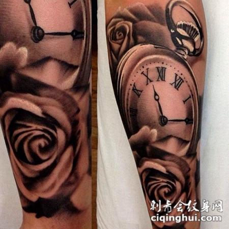 小臂上的玫瑰花钟表纹身图案
