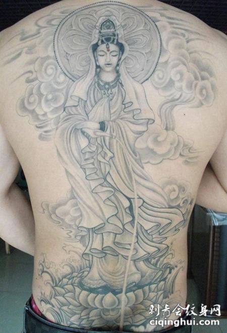满背观音菩萨纹身图片