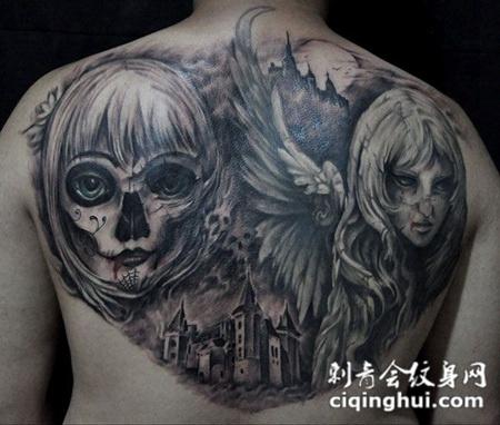 背部哥特恶魔纹身图片