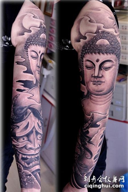 您可能还会喜欢包小臂骷髅般若纹身图案或者花臂艺妓般若纹身图案.