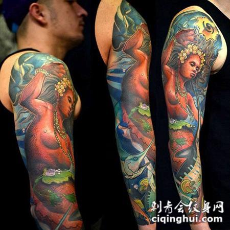 花臂人鱼纹身图案图片
