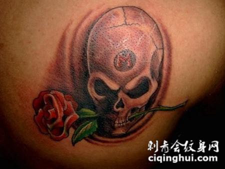 肩胛骨上叼着玫瑰花的骷髅头纹身图案