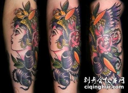 包小臂美女玫瑰纹身图案