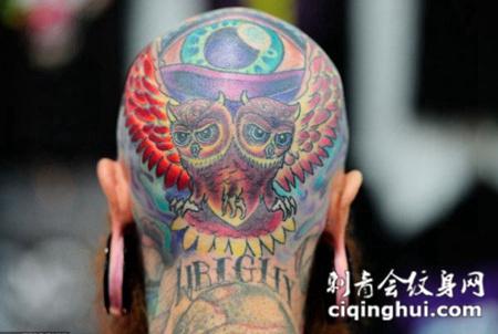 头上的猫头鹰纹身图案