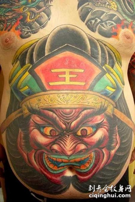 肚子上的阎王纹身图案