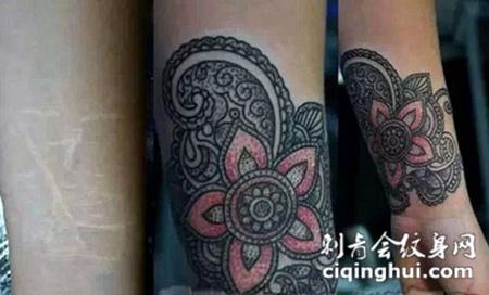 小臂上的海娜花纹身图案