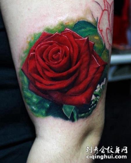 大臂上的红色玫瑰花纹身图案