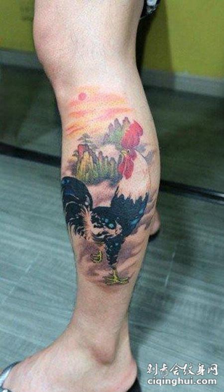 腿上的鸡纹身图案