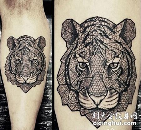 小腿上的老虎头纹身图案图片