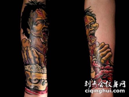 小臂上的干尸骷髅纹身图案