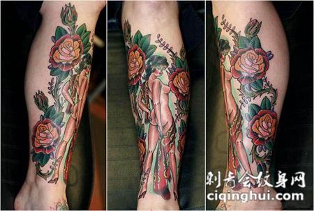 小腿上的裸体大妞玫瑰纹身图案
